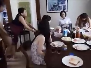 Deleterious Chinese fellow is banging his wifey in front of his family, and devoted it