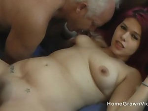 Imperceptive redhead amateur fucked by two hung old men