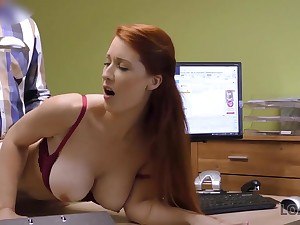 Agent screws busty redhead because she totally needs money