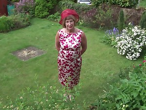 Of age granny Rosemary strips outdoors added to plays with a dildo