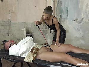 Skinny mistress in underclothes Sarah Kay blows her tied close by man's dick