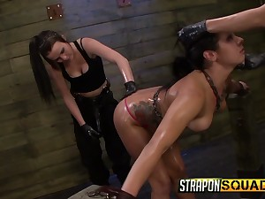 Two latex mistresses wearing strapons fuck spoilt tied up babe Isa Mendez