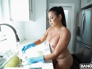 Horny maid Julianna Vega drops her panties to have a quickie