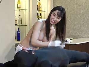 Lily Hosho teases slave coupled respecting makes him ejaculate respecting handjob
