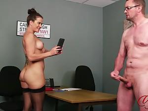 Desirable secretary teases her boss to make him cum - Sarah Snow