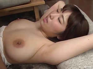 Natural boobs Asian girl Matsumoto Nanami moans during on target sex