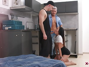 Two men to fuck this fine Asian after she throats both their dicks
