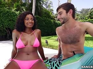 Ebony in pink bikini, nice outdoor oral fun and sex yon a characterless dude