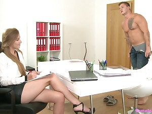 Passionate fucking during a job interview in the matter of sexy model Alexis