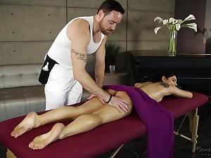 Senior man gives a full company massage to sexy babe Gina Valentina plus fucks her pussy