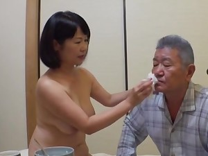 Japan grown-up stands nude and pleases her man the right like one another
