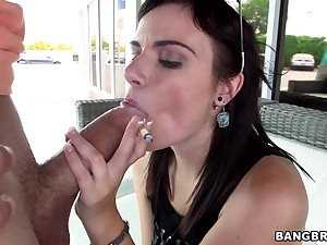 Amateur video of saleable Alexis Blaze sucking a dick of a lucky guy