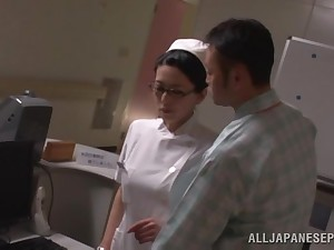 X-rated Asian nurse gets talked into banging with a naughty patient