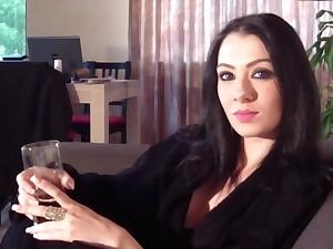 Stud near cam talks near beautiful girlfriend in living room
