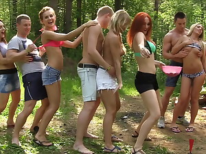 Dirty-minded babes appreciate champagne and college DP, part 1