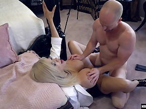 Bald dude roughly fucks blonde girl in charming XXX