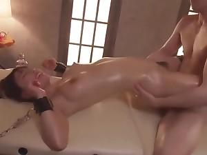 Beautiful Girl Tied Oiled