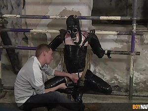 BDSM in extreme gay scenes of a submissive twink
