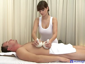 Fine masseuse pleases the client with more than just nudity