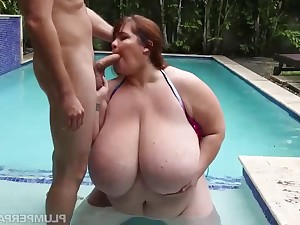 Big BBW girl Lexxxi Luxe shagged outdoors by the pool - fat arse and monster boobs