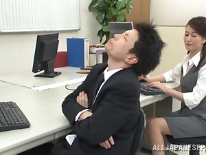 Fucking the ground-breaking Japanese secretary after she sucks dick