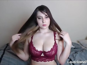 Dildo solo - Masturbation on webcam in sexy lace bra