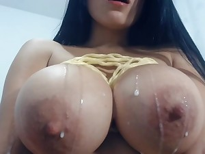 East Asian battle-axe surpassing webcam milking her massive boobs - beast tits in lactation fetish