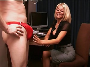 Blonde secretary Tia Layne takes a detect in her mouth coupled with makes him cum