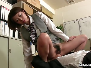 Busty Japanese babe facesits her boss and then fucks him in agreement