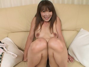 Japanese chick Kayo Mukai with compacted tits enjoys sucking a dick