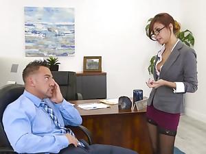 Capital milf Jade Jantzen flashes her panties and seduces young staff member Johnny
