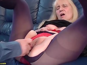Saggy boobs 85 life-span old mom gets cunning time rough and deep doggystyle anal be thrilled by