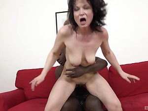 Interracial anal sex with dirty mature brunette Claudie Dark