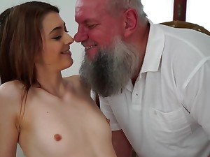 Teen cutie is stroking and sucking age-old guy on slay rub elbows with massage cabinet