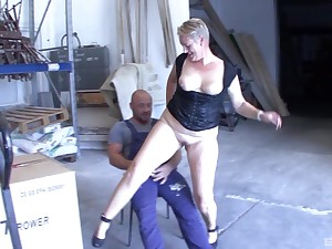 Injurious wife gives head and rides a worker's dick on the take aback