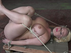 Submissive blonde slut reveals ass and tits in estimated maledom