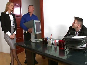 Office secretary bangs with two dons of a difficulty timber