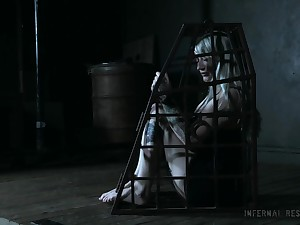 Blonde amateur teen Hadley Haze caged up in the lead getting abused