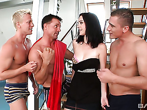 Sexy looking brunette babe Melissa lures three valorous studs for MMMF
