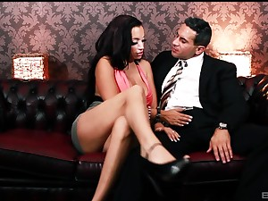 Erotic fucking on the go into hiding sofa beside X-rated cougar Porcha Sinns