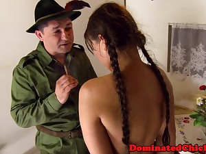Smalltit teen distressful by rough soldier