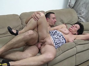 hairy 86 ripen old granny gets rough fucked by will not hear of young strong flannel toyboy