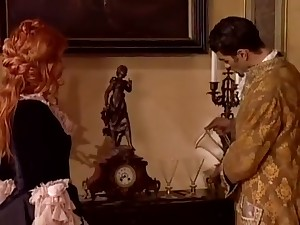 Hot Redhead Noblewoman in Historical Attire Banged on Sofa by Musketeer