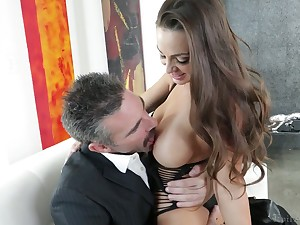 Elder dude fucks graceful girl with juicy boobs Abigail Mac together with cums in her opened indiscretion