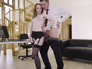 Off colour phase Ella Hughes teases in stockings and rides her BF